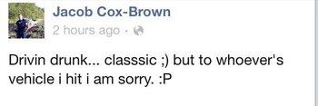 Teen's Facebook post: 'Drivin Drunk'