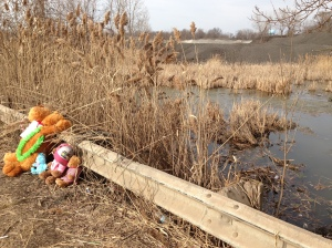 Stuffed animals sit at the site of a car accident that killed at least six people in Warren.