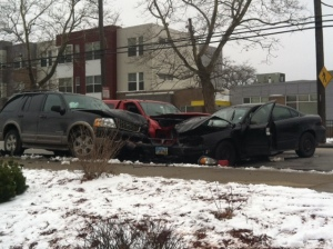 Three-car accident on East 72nd Street and Kinsman Avenue in Cleveland. (Photo Credit: Fox 8 News)