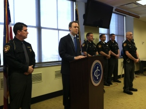 Ed FitzGerald addresses security plans for the Cleveland Marathon. 4/23/13 (Photo Credit: Fox 8 News)