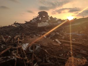 A CNN iRerpoter captured a photo of the sun rising over what was Plaza Towers Elementary School in Moore, OK.
