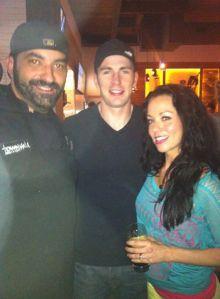 Fabio and Nicole Salerno with Chris Evans. (Photo Credit: Fabio Salerno)