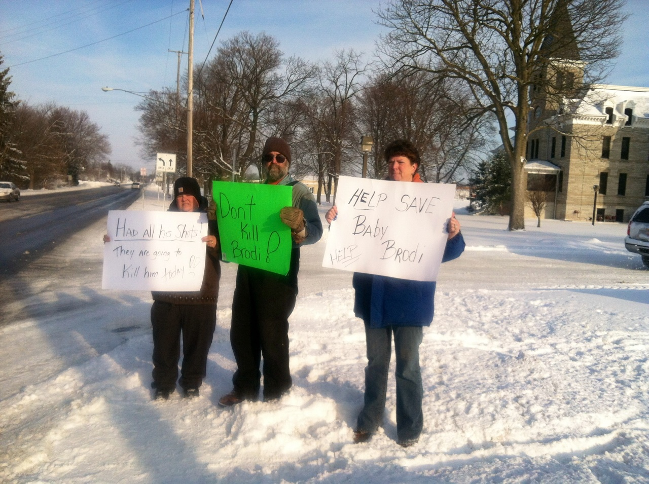 Protestors gather outside the Erie County Health Department in support of Brodi the monkey
