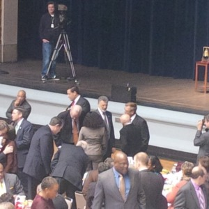 (Mayor Frank Jackson talks with the crowd before the State of the City address on March 5, 2014)