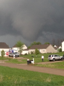 Here is a pic of that Montville Township tornado that was just confirmed today. This was taken at 7396 Bittersweet Lane in Chippewa Lake, Ohio just after it past and formed over my house. I had some damage to things outside my house (swingset, patio furniture, deckboxes, ect). Looking northeast from my front yard Ryan Staab