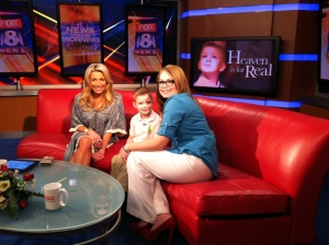 (Connor Corum, 6, and his mom, Shannon, talk with FOX 8's Stefani Schaefer on April 2, 2014.)
