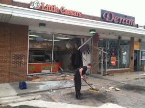 Truck into pizza shop on Denison ( via FOX 8 News)