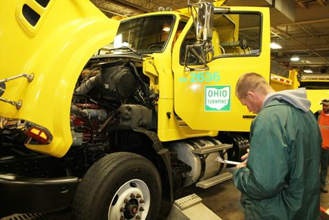 Troy Bader, Hiram Division Chief Mechanic, conducts an inspection of Ohio Turnpike snowplow equipment at the Boston Garage on Oct. 22. (courtesy Ohio Turnpike)