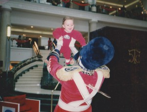 The Toy Soldier lifts up Stoyka's brother when he was just a few months old.