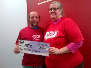 Eric Baucan and his wife, Sandy. (Photo credit: Ohio Lottery)