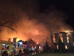 Fire destroyed a 16,000-square-foot mansion in Annapolis, Maryland Monday, Jan. 19, 2015. The search for six missing people inside the home could take days, fire officials said. ( Anne Arundel County Fire Department via CNN)