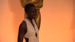 Lupita Nyong'o on the red carpet before the 87th Academy Awards in Los Angeles on Sunday, February 22, 2015. (CNN)