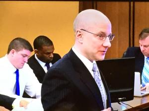 Prosecuting attorney Rick Bell delivers opening statements. Officer Michael Brelo sits at the defendant table behind him. (Photo: Jen Steer/Fox 8 News)