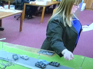 Prosecuting attorney Erica Barnhill points to a model of the chase. (Photo: Jen Steer/Fox 8 News)