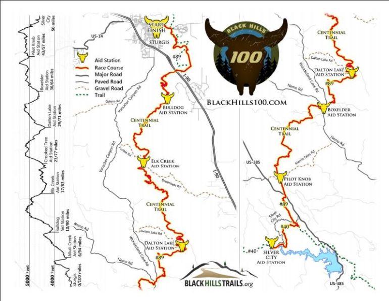 Map courtesy: Black Hills 100