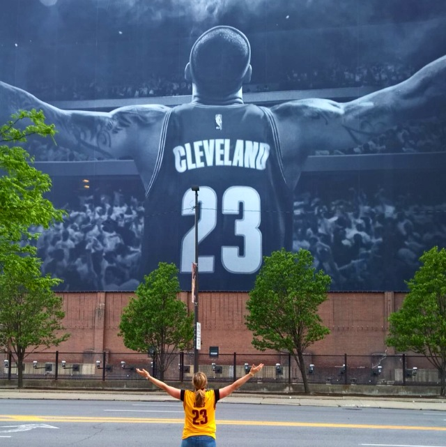 Candice Bertemes, age 40, from Medina posing in front of the King poster.