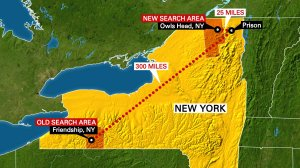 This map, current as of June 22, 2015, calls out two search areas for the escaped inmates of Clinton Correctional Facility. The northern location, in Owls Head, New York, is the new center of the search after DNA from Richard Matt and David Sweat was found on items inside a cabin about 20 miles the prison, a law enforcement source told CNN. (Image: CNN)