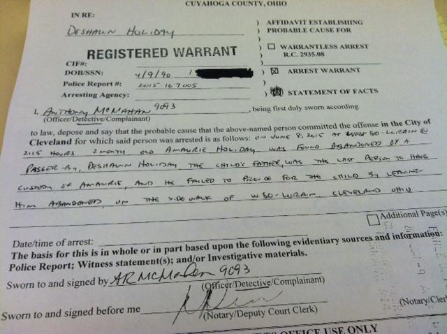Abandoned baby warrant