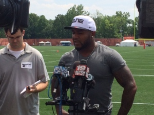 Donte Whitner talks to the media a day before the start of Browns training camp. (Photo: Jen Steer/Fox 8 News)