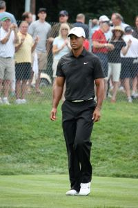 Tiger Woods plays golf at The Barclays at Bethpage State Park in New York. (Steve Machalek/CNN)