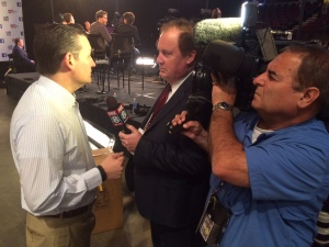 Bill Sheil interviewing Republican presidential candidate Ted Cruz ahead of the GOP Debate, 8/6/15