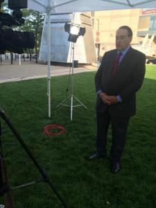 Mike Huckabee gives a one-on-one interview with FOX 8 the day after the GOP Debate in Cleveland(Photo Credit: Fox 8 News)