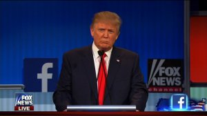 Donald Trump at the first GOP debate of the 2016 season. (From Fox News via CNN)