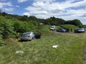 Virginia State Police provided this photograph of a Chevrolet Sonic along Interstate 66 in Northern Virginia that was driven by Vester Lee Flanagan on August 26, 2015. Flanagan shot and killed WDBJ reporter Alison Parker and photographer Adam Ward in Moneta, Virginia earlier in the day and crashed the vehicle in Fauquier County, more than 170 miles away from the scene of the shooting. (Photo Credit: CNN via Virginia State Police)