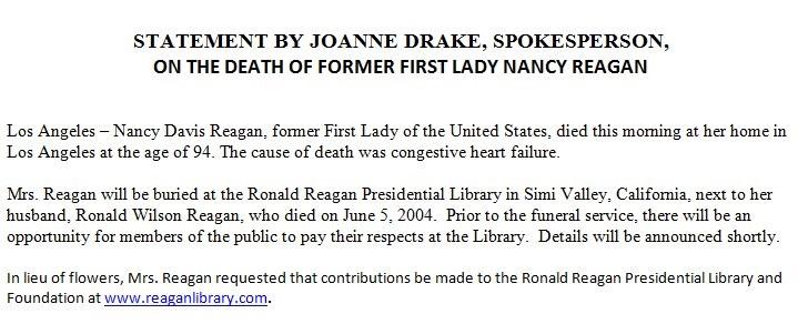 Nancy Reagan statement