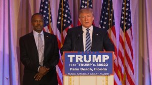 Retired neurosurgeon Ben Carson formally endorsed Donald Trump's presidential bid at a press conference in Palm Beach, Florida, on Friday, March 11, 2016.