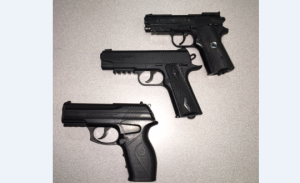 The 3 guns confiscated from the teens