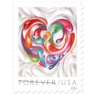 """In 2016, the U.S. Postal Service® issues another stamp in its popular Love series, Quilled Paper Heart. Quilling - also called paper filigree - involves rolling and shaping narrow strips of paper, laying them on their edges, and gluing them in place to form intricate designs. The origin of the name """"quilling"""" is obscure, but it might have come from the first tool used to create the paper curls, the base of a feather or quill."""
