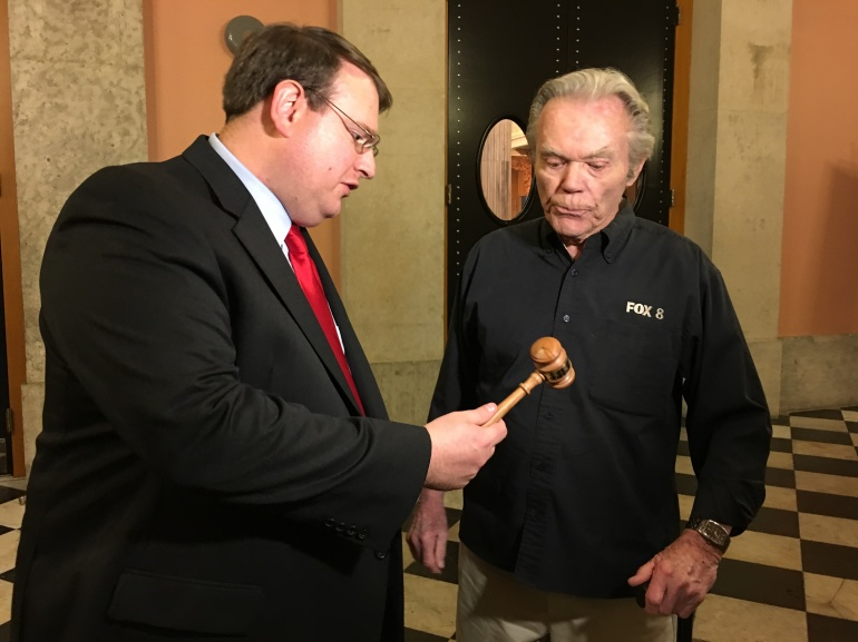 Ohio Senator Larry Obhof presenting Dick with the gavel used to pass HB60 – Goddards Law in the Senate