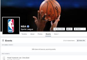 nba events page after