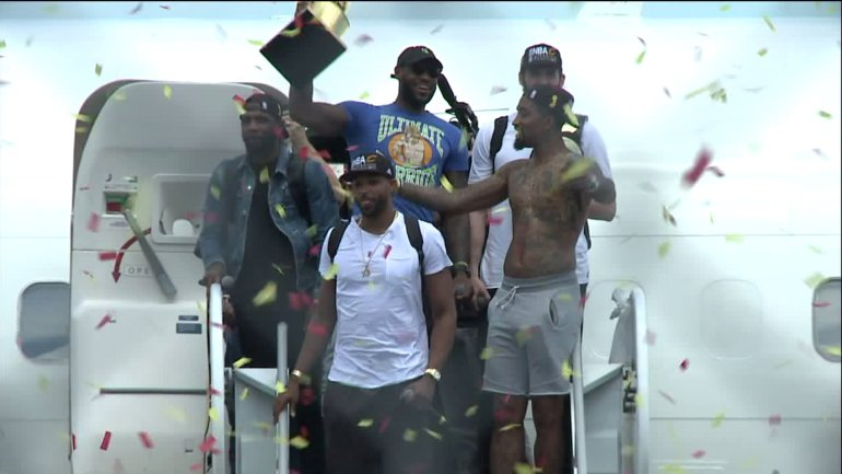 NBA Champions- Cavs arrive home in Cleveland