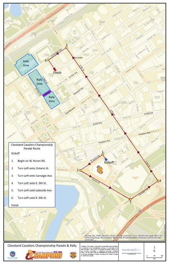 Cleveland Cavaliers Parade Route