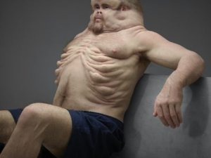 Graham has been designed with bodily features that might be present in humans if they had evolved to withstand the forces involved in crashes. (CNN via Transport Accident Commission)