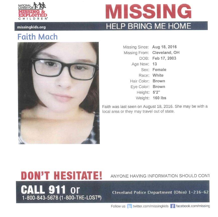 Missing Cleveland Teen Faith Mach