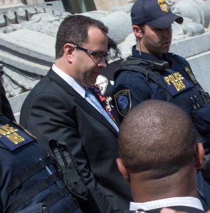 Jared Fogle leaves the courthouse on August 19, 2015 in Indianapolis, Indiana. Fogle was part of a Federal Investigation which included a raid of his home in July 2015. (Photo by Joey Foley/Getty Images)