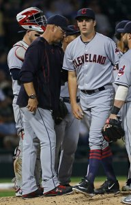 CHICAGO, IL - SEPTEMBER 13: Starting pitcher Trevor Bauer #47 of the Cleveland Indians is removed from the game against the Chicago White Sox in the 6th inning by manager Terry Francona #17 after giving up three run at U.S. Cellular Field on September 13, 2016 in Chicago, Illinois. (Photo by Jonathan Daniel/Getty Images)