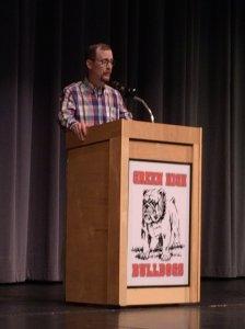Gordon Felt, brother of 9/11 victim Edward, addresses students at Green High School (Photo courtesy: Dave Nethers)