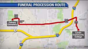 Funeral procession route- Trooper Velez funeral