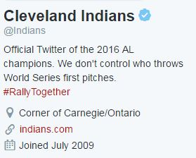Cleveland Indians Twitter bio on Oct. 25, 2016.