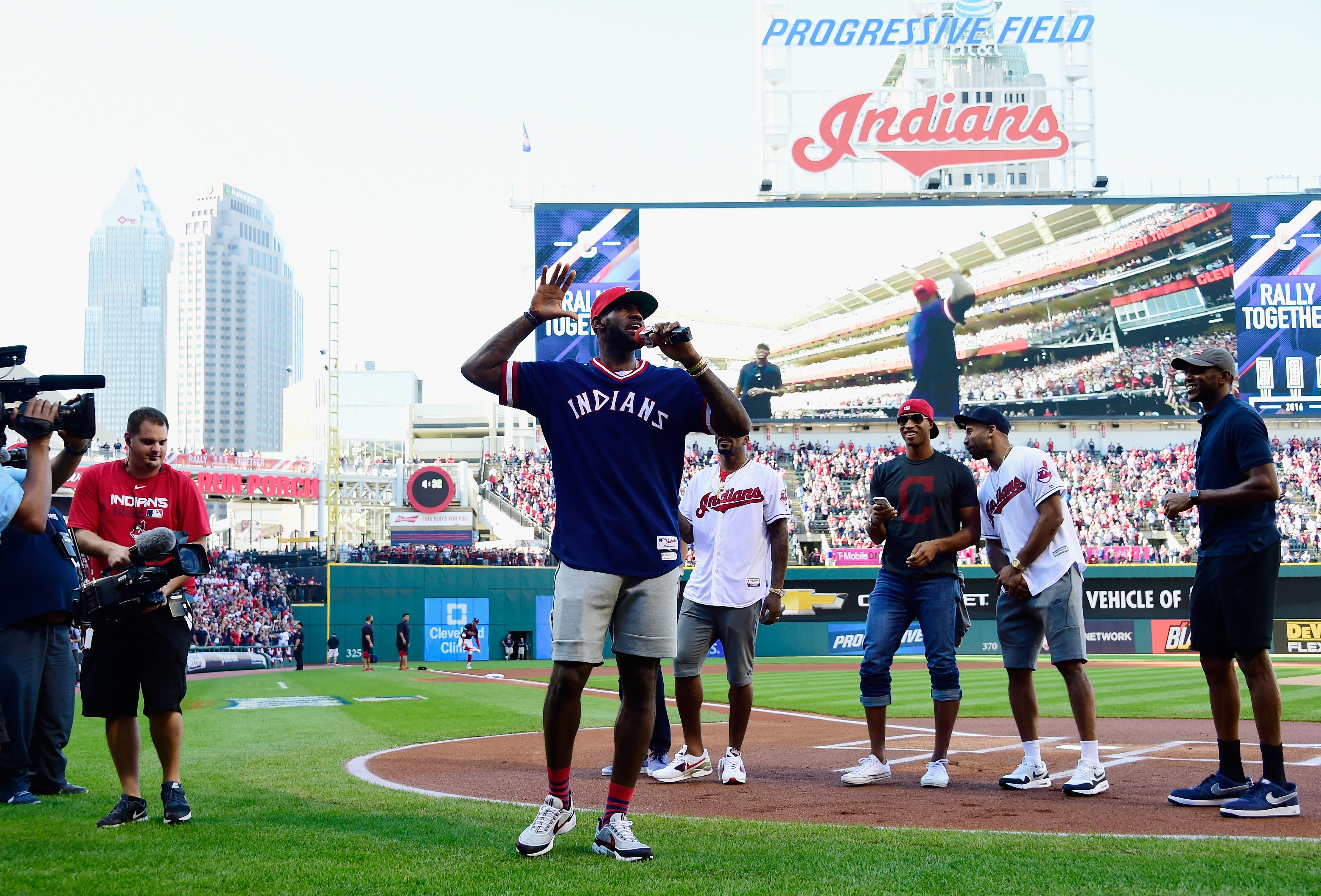 LeBron James #23 of the Cleveland Cavaliers addresses the crowd prior to game two of the American League Divison Series between the Boston Red Sox and the Cleveland Indians at Progressive Field on October 7, 2016 in Cleveland, Ohio. (Photo by Jason Miller/Getty Images)