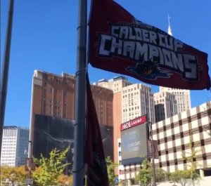 Calder Cup banner flying outside of The Q-- courtesy: Cleveland Monsters