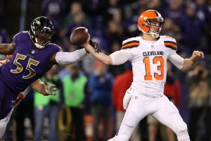 Quarterback Josh McCown #13 of the Cleveland Browns works under pressure from outside linebacker Terrell Suggs #55 of the Baltimore Ravens in the third quarter at M&T Bank Stadium on November 10, 2016 in Baltimore, Maryland. (Photo by Rob Carr/Getty Images)