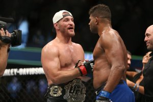 Alistair Overeem shakes the hand of Stipe Miocic during the UFC 203 event at Quicken Loans Arena on September 10, 2016 in Cleveland, Ohio. (Photo by Rey Del Rio/Getty Images)