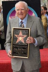 "Judge Joseph A. Wapner poses with a copy of his star after he was honored with a Star on The Hollywood Walk of Fame on his 90th birthday in Hollywood, November 12, 2009. Judge Wapner is best known for presiding over the TV show ""People's Court"" for 13 years. AFP PHOTO/Mark RALSTON (Photo credit should read MARK RALSTON/AFP/Getty Images)"