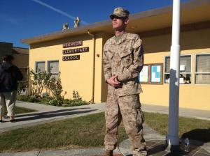marine standing guard