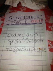 Stranger pays for 'special' family's dinner, leaves touching note